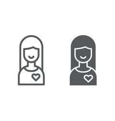girlfriend line and glyph icon female and love vector image