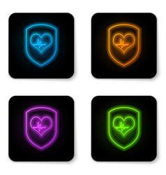 glowing neon shield and heart rate icon isolated vector image