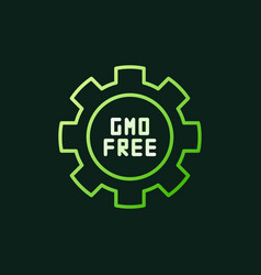 gmo free in cogwheel green outline icon or vector image