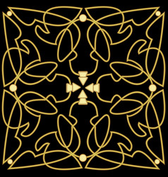 golden patterns with 3d effect on black background vector image