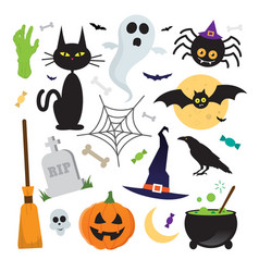 Halloween elements icons set vector