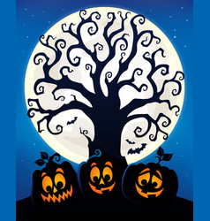Halloween tree silhouette topic 6 vector