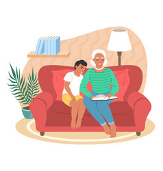 happy grandmother reading book with grandson flat vector image