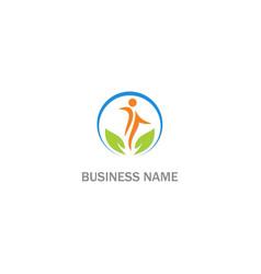 Happy people green leaf organic logo vector