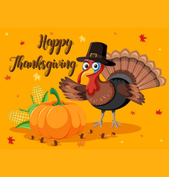 Happy thanksgiving pumpkin and turkey card vector