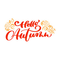 hello autumn lettering print text with vector image