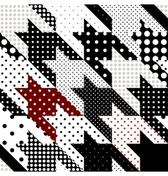 Hounds-tooth pattern with polka dots vector