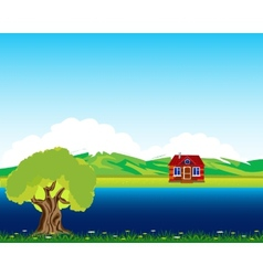 House beside streams vector