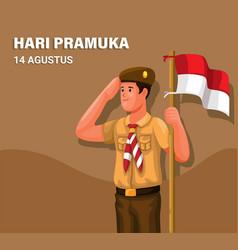 Indonesian scouting day aka hari pramuka 14 august vector