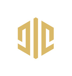 initial alphabet cic or jic logo icon vector image