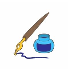 Ink pen icon in cartoon style vector