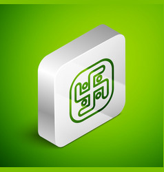 Isometric line jainism icon isolated on green vector