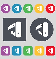 Knife picnic icon sign A set of 12 colored buttons vector