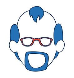 man faceless wearing glasses blue hair in white vector image