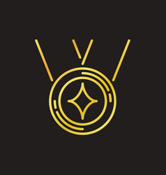 medal concept golden outline icon on dark vector image