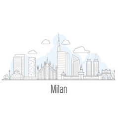 milan city skyline - cityscape with landmarks vector image