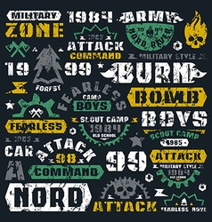Military typographic elements color vector