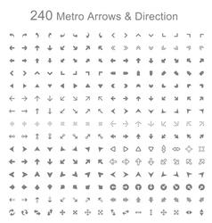 Monotone metro arrows and direction vector image