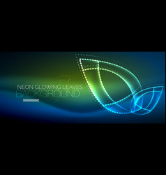 Neon leaf background green energy concept vector