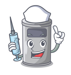 Nurse cartoon steel trash can in the door vector