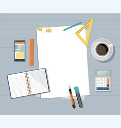paper with phone ruler pencil pen coffee vector image