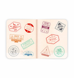 Passport with visa stamps open passport pages vector