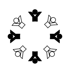 People silhouette teamwork emblem vector