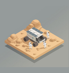 Planetary rover astronauts isometric composition vector