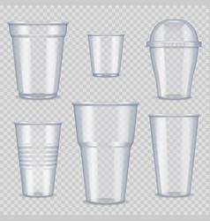 plastic cups transparent empty vessel vector image