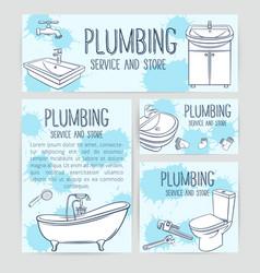 Plumbing service banners vector