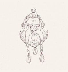 Portrait of angry scandinavian warrior vector
