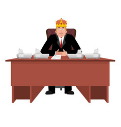 president in crown at desk modern king is vector image