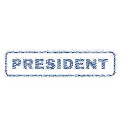 President textile stamp vector