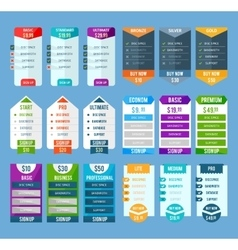 Pricing table templates set vector