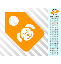 Puppy tag flat icon with bonus vector