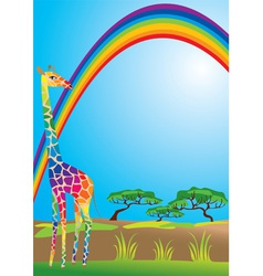 Rainbow and giraffe vector