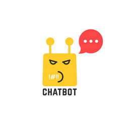 Rude yellow chatbot icon with red speech bubble vector