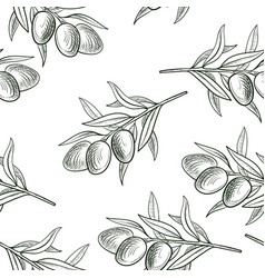 Seamless pattern with drawing olive branch vector