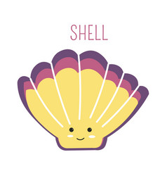 Seashell with face cartoon childish book character vector