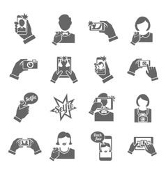 Selfie icons black vector