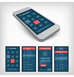 Set of blue ui mobile design vector