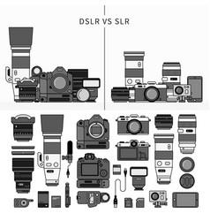 set photography tools line monochrome vector image
