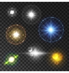 Shining star and sun light with lens flare effect vector image vector image