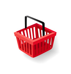 Shopping basket with handle supermarket item vector