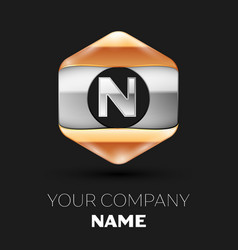 Silver letter n logo in silver-golden hexagonal vector