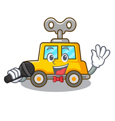 Singing cartoon clockwork toy car for gift vector