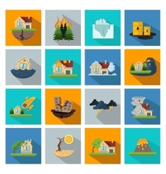 Sixteen Disaster Damage Line Icon Set vector image