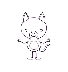 Sketch contour caricature of cute cat happiness vector