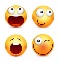 Smileyemoticons set yellow face with emotions vector
