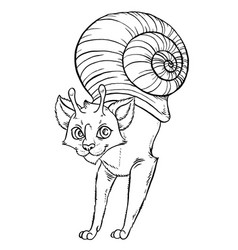 Snail funny cartoon cat vector